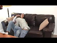 Teen gays hot oral on a sofa