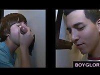 Gay boy gloryhole tricks straight guys into gay blowjob