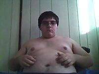 Fat stud jerking off his small dick