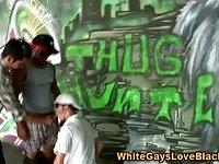 Gay interracial cock sucking outdoor