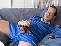 Aroused Guy Stuffing Dick on Couch