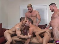 Horny five man gay orgy with hardcore anal sex