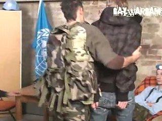 Soldiers bound guy tortured & spanking & dildo insertion
