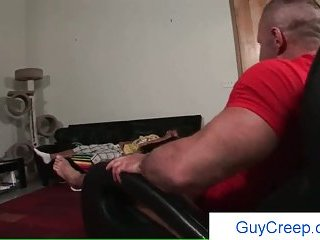 Gay creep jerking his cock while friend is sleeping