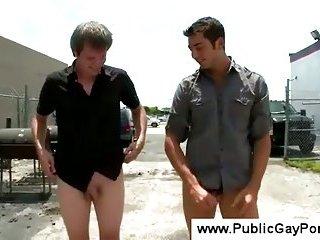 Homosexual gives a public blowjob