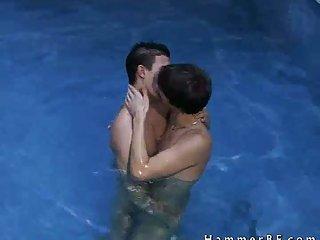 Cute boys having sex in pool