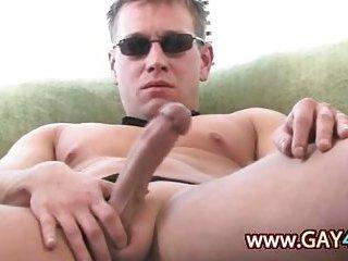 Super horny guy in black glasses jerking