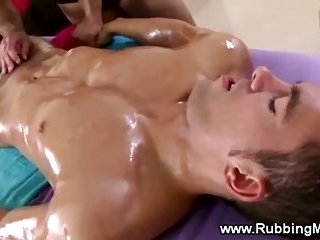 Straight guy gets a muscular rimjob and blowjob