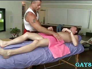 Masseur fucks client on all 4