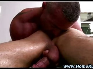 Straight cock gets hard during rimjob
