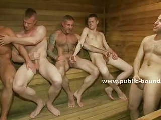 Sexy inexperienced gay twink group sex