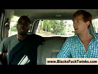 Sexy twink sucks big black cock