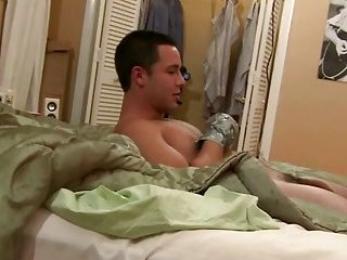 Tied up guys suck each other hard dick off