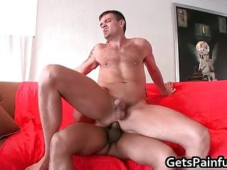 Pierced dude gets his anus ripped by black cock