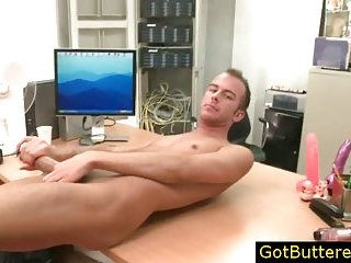 Hunk getting fucked on table and jizzed in face porn