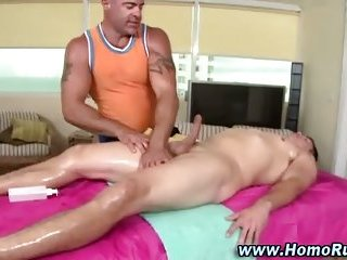 Straight guy cock sucked by gay massage bear