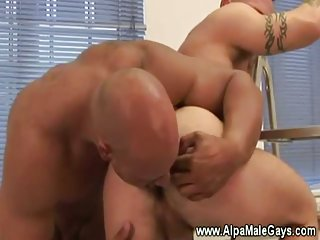 Muscular painter forced to suck cock