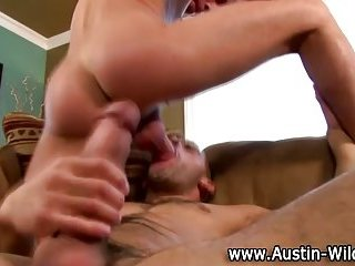 Hot gay Austin Wilde sucks on cock