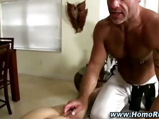 Muscular gay masseuse