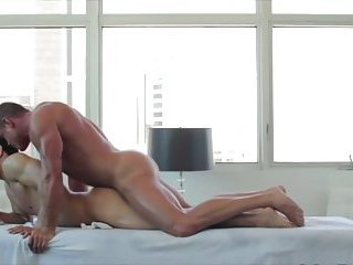 Gay muscular stud takes it