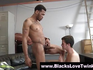 White twink blowjob and fuck with ebony friend