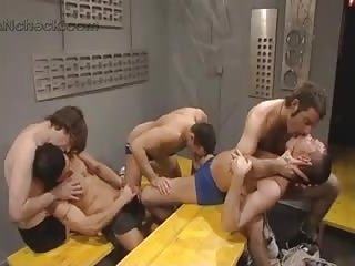 Naughty Gay Guy Gets Banged In Gangbang
