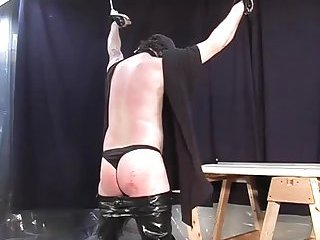 Bondaged Stud Gets His Butt Spanked