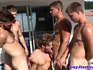 Gay seafarers jerking cocks and having orgy on board