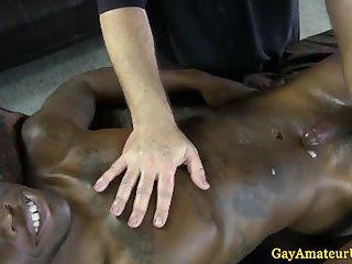 Ebony gaystraight jock shoots his load
