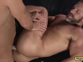 Daddy big dick is his first anal fuck